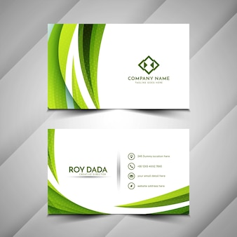 Современный зеленый цвет волны стиль дизайн визитной карточки вектор