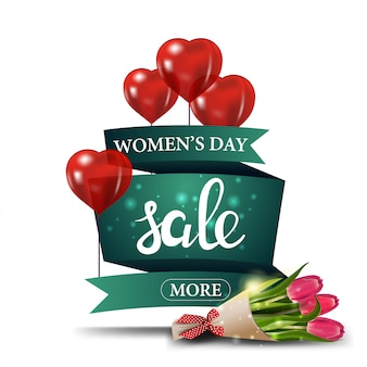 Modern green discount banner to the women's day