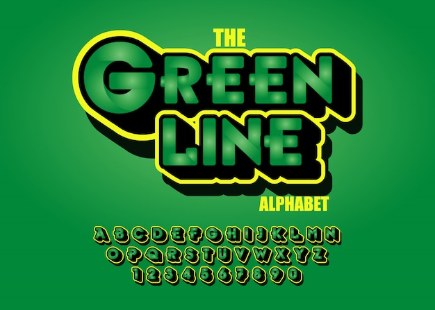 Modern green font effects 3d. alphabet letters