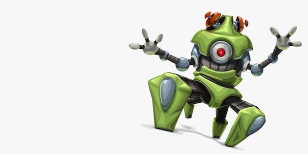 Современный зеленый четырехногий робот