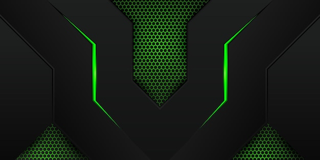 Modern green gaming background with hexagon pattern