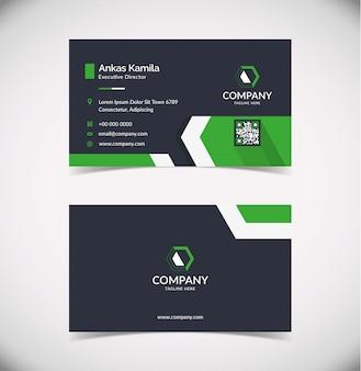 Modern green geometric business card template