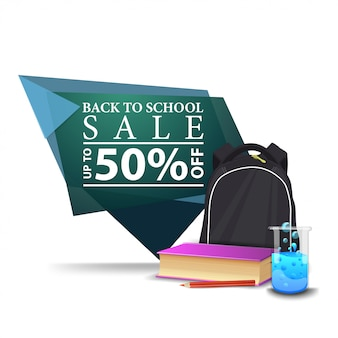 Modern green geometric discount banner to the back to school with school backpack