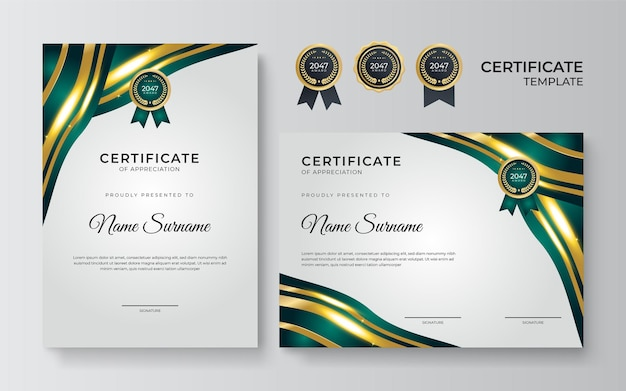 Modern green and gold certificate template. certificate of achievement templates with wavy elements and luxury gold badges. vector graphic print layout can use for award, appreciation, education
