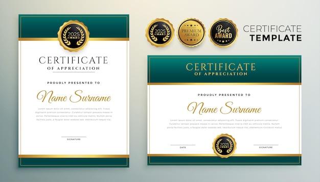 Design moderno modello di certificato verde e oro