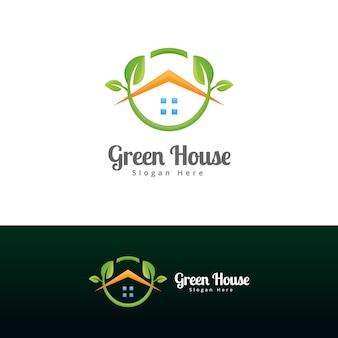Modern green house logo template