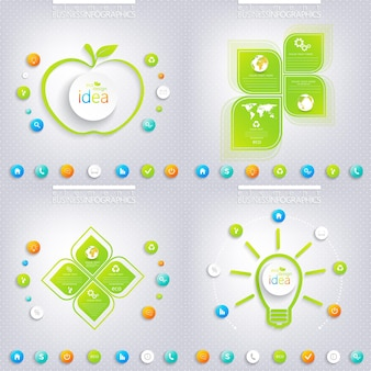 Modern green infographic design with place for your text. business concept 3, 4 options.