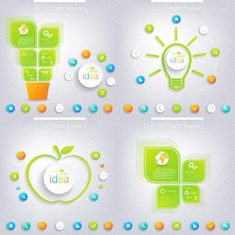 モダンな緑のインフォグラフィックデザイン
