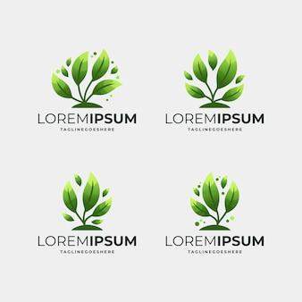 Modern green leaf logo template