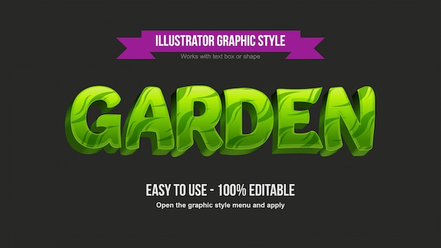 Современный зеленый лист узор 3d мультфильм редактируемый текстовый эффект