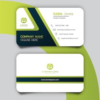 Modern green light line busines card template design
