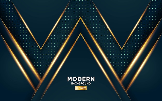 Modern green premium abstract vector background with golden light lines in dots texture.