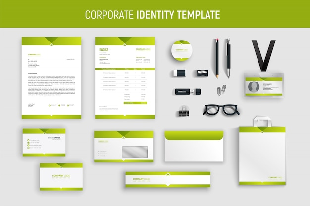 Modern green professional business stationery set