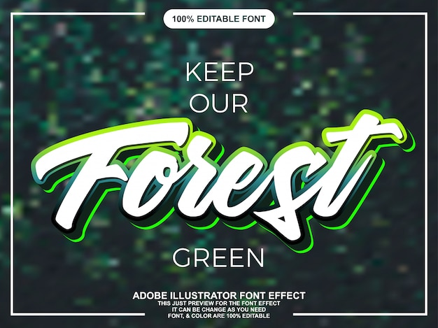 Modern green script editable typography font effect
