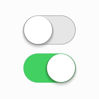 Modern green slider button on white background.