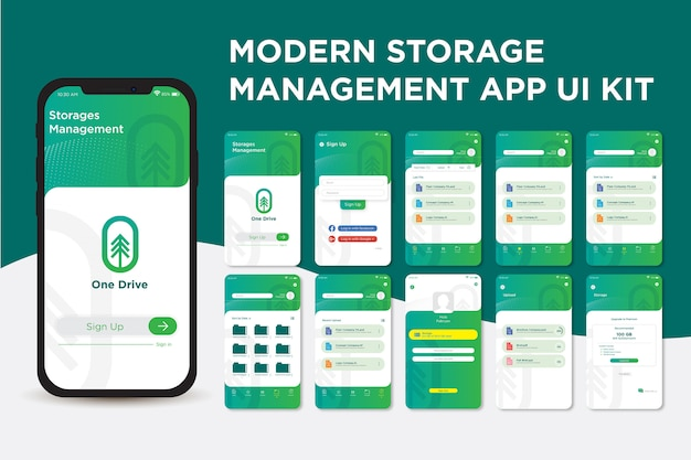 Modern green storage management app ui kit template