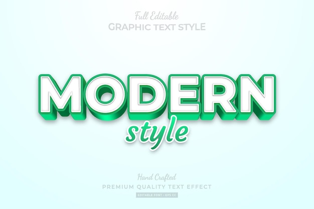 Modern green style editable premium text effect font style