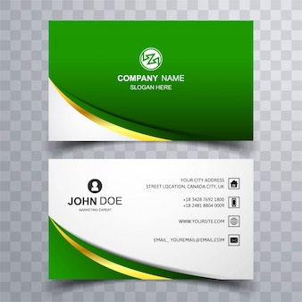 Modern green wave business card