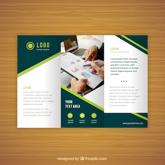 Modern green and white trifold business flyer
