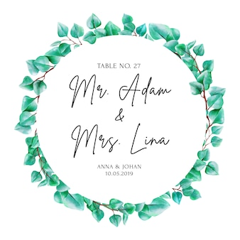 Modern greenery eucalyptus leaf escort card.