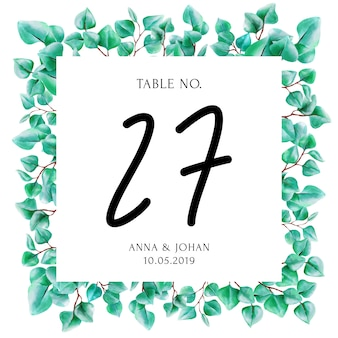 Modern greenery eucalyptus leaf table number card.