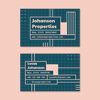 Modern grid investor real estate business card
