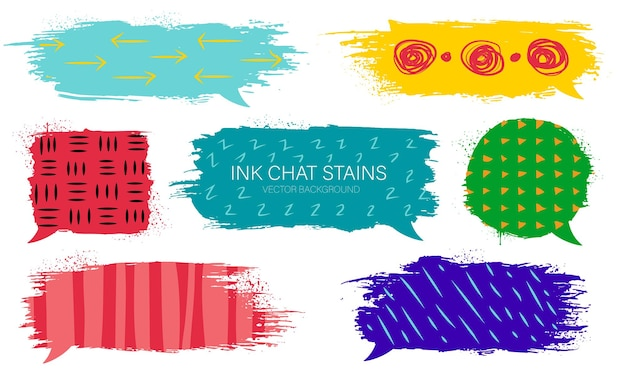 Modern grunge set of ink chat stains with hand drawing textures.