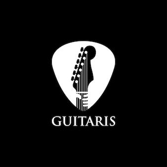 Modern guitar in plectrum and hand logo design vector