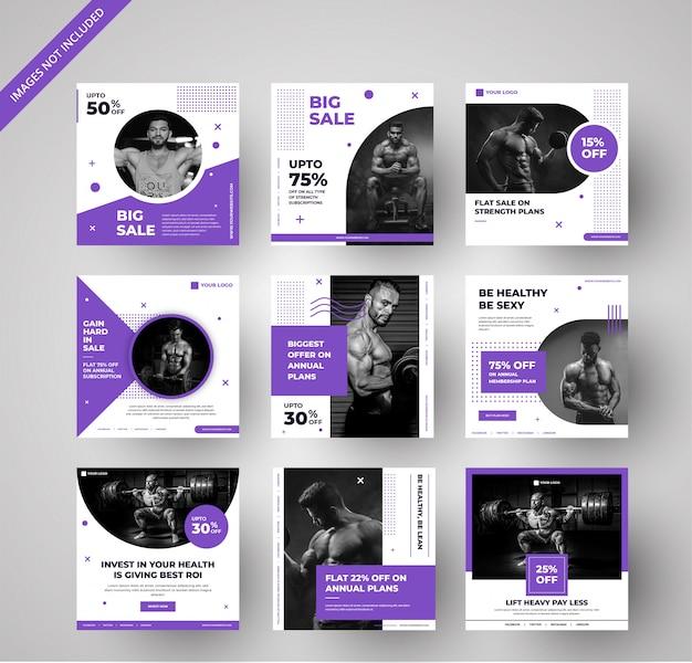ソーシャルメディアとデジタルマーケティングのためのモダンなジム広告バナーコレクション