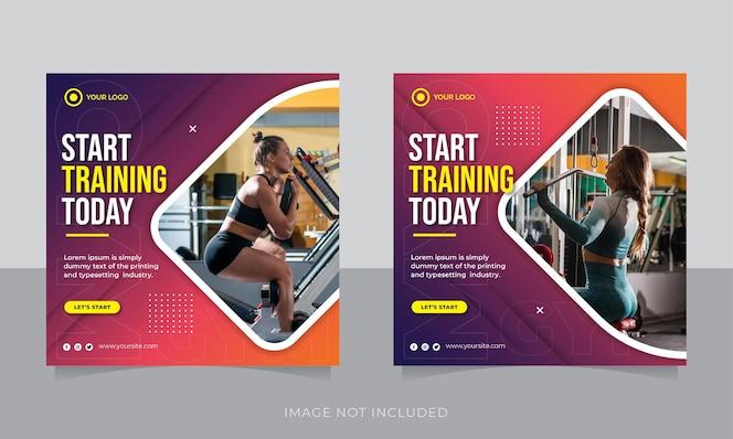 современный тренажерный зал и фитнес-пост в социальных сетях, баннер или квадратный флаер
