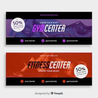 Modern gym banners with photo