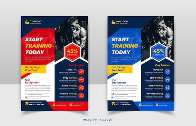 Modern gym and fitness agency flyer template design
