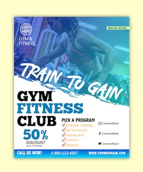 Modern gym & fitness flyer with grudge style design template
