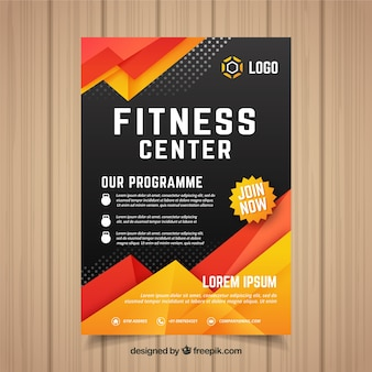 Modern gym flyer template with abstract design