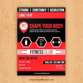 Modern gym flyer template with abstract style