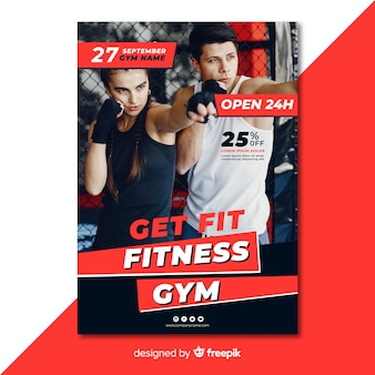Modern gym flyer template with photo