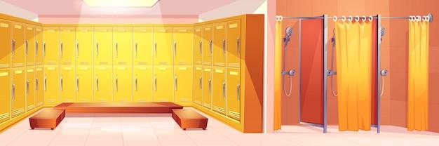 현대 체육관 또는 스포츠 클럽 편안한 탈의실 인테리어 만화 벡터 배경