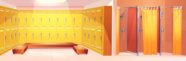 Modern gym or sport club comfortable locker room interior cartoon vector background