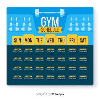 Modern gym weekly schedule with flat design