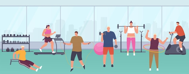 Modern gym with panoramic windows, sports equipment, exercise machines for women and men. people do various exercises in gym maintain healthy lifestyle.