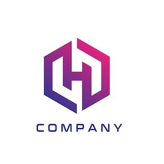 Modern h hexagon logo