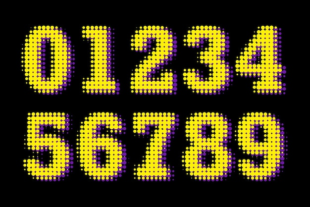 Modern halftone numbers isolated on black