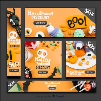 Modern halloween banners with realistic design