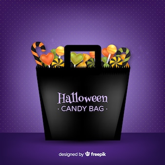 Modern halloween candy bag background