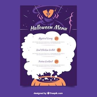 Modern halloween menu with witch