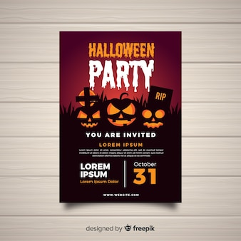 Modern halloween party poster template with flat design