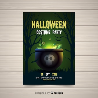 Modern halloween party poster template with realistic design