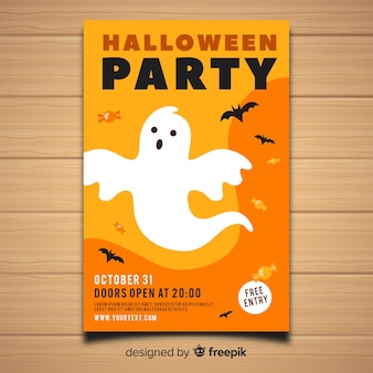 Modern halloween party poster template