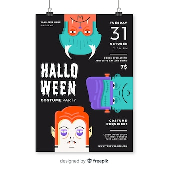Modern halloween party poster with flat design