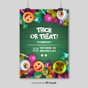 Modern halloween party poster with realistic design